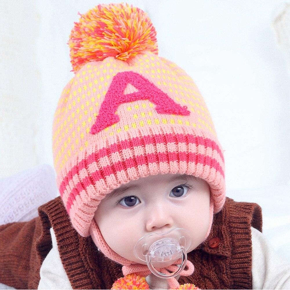 Autumn Winter Baby Hat Thickened Knitted Kids Warm Fleece Cap Skullies Cute Boy Hairball Hat Fashion Children Earflap Beanie Cap