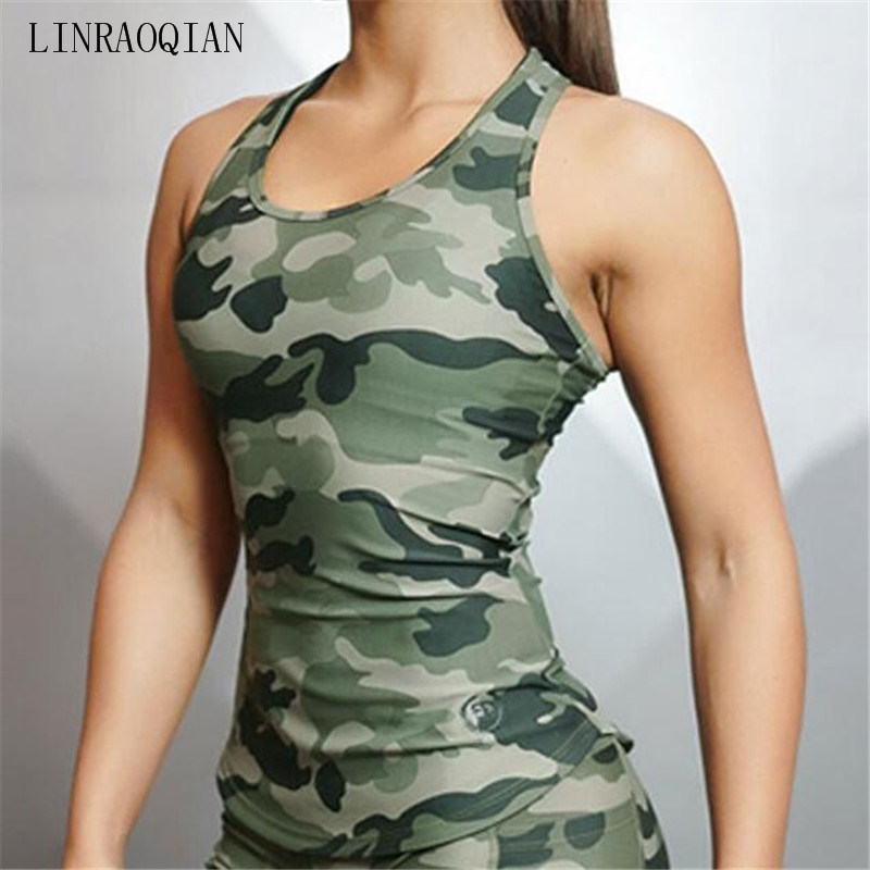 Camouflage Gyms Bodybuilding Tank Top Women Vest Sexy Workout Fitness Women Summer Tops Sleeveless Backless Top Women T-shirt