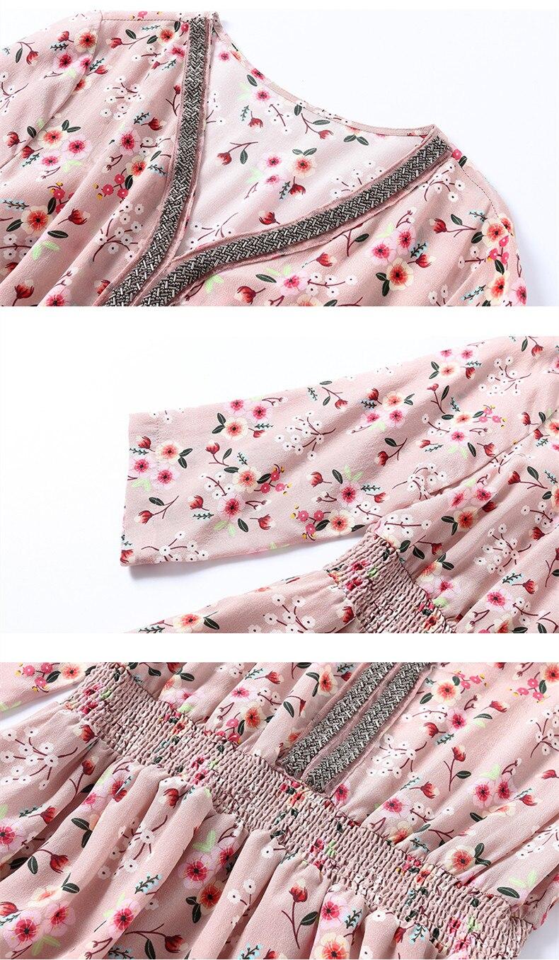 Picture De Mince Color Manches Cru 100 Femmes Hh743 Kmetram Trois Robe Soie Mousseline D'été Fiesta En Robes Trimestre Naturelle 2018 PnECU