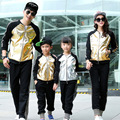 2016 Family Clothing Sale Top Dress Family Look Girl And Mother Of Daughter Of Child With Pu Leather To Spell Three Sports Suits