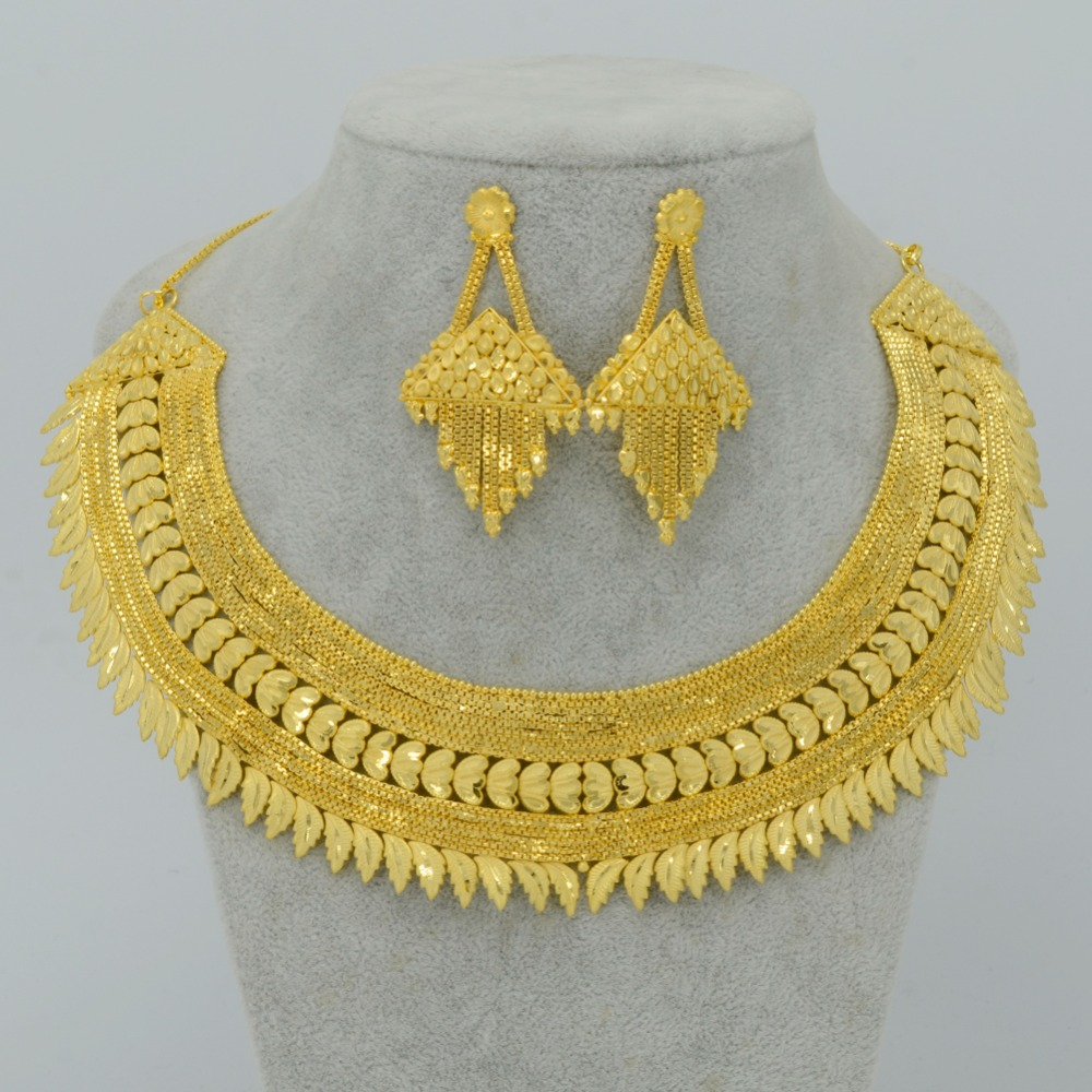 Dubai Jewelry Sets For Bridal Wedding Giftgold Plated And Copper