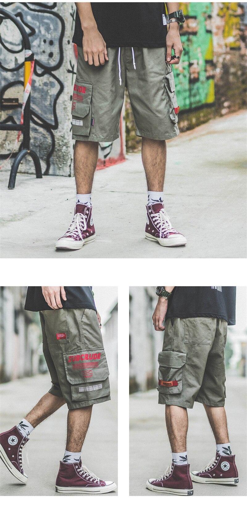 Japanese Harajuku Big Pockets Mens Cargo Shorts for Summer Urban Boys Streetwear Drawstring Hip Hop Short Pants Plus Size M-XXL 11