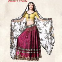 2018 dancewear belly dance indian dance performance clothing, hand embroidered Competition costume (top + belt + skirt +veil