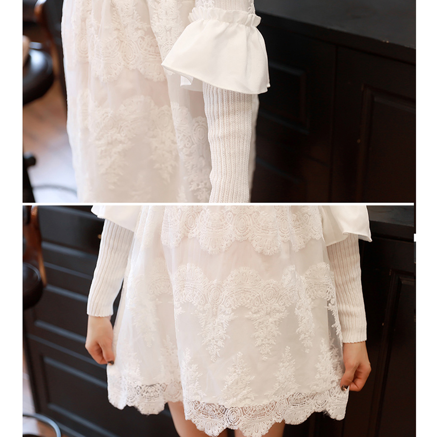 2a56e7ef2e45 Autumn White Long Sleeved Lace Maternity Dress Pure Colors Pregnancy Wear  Clohtes Loose Comfortable Pregnant Dresses HMA150-in Dresses from Mother    Kids on ...
