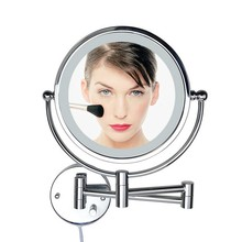 8 Inch LED Light Wall mounted folding cosmetic mirror 5X Magnifying LED Makeup Mirror bathroom