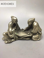 MOEHOMES China Tibet Silver Ancient two old elderly Play chess, play chess statue Ornament metal crafts home decoration