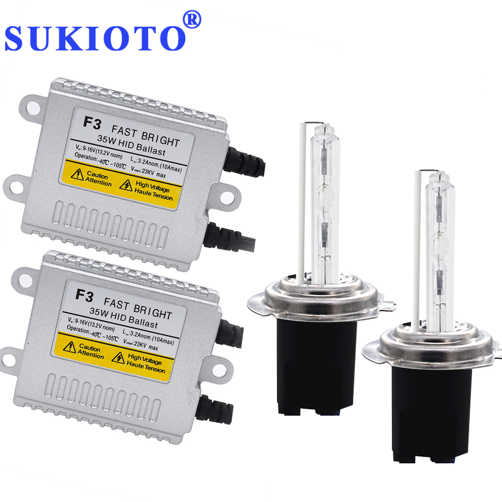 SUKIOTO AC 35 w HID Kit H7 hid xenon kit H7R métal H1 hid ampoule 4300 k 5000 k 6000 k 8000 k H11 jaune HB3 HB4 hid Phare de voiture lampes