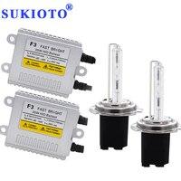SUKIOTO AC 35W HID Kit H7 hid xenon kit H7R metal H1 hid bulb 4300K 5000K 6000K 8000K H11 yellow HB3 HB4 hid Headlight car lamps