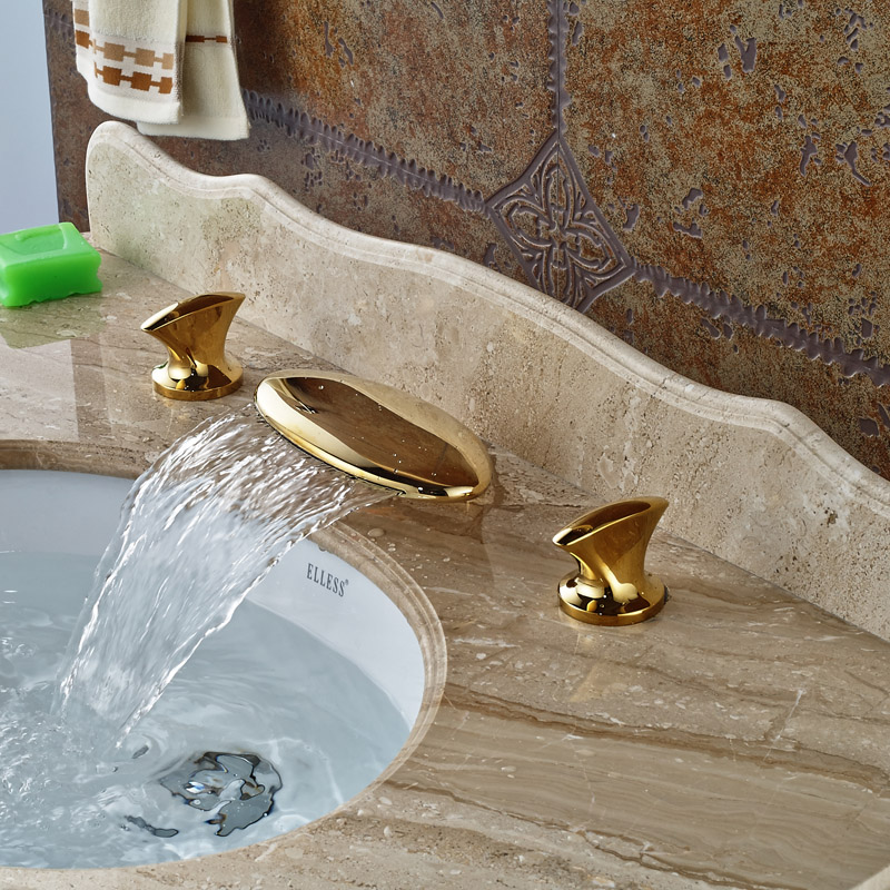 Luxury Gold Color Waterfall Basin Faucet Widespread Dual Handles Brass Lavatory Sink Mixer Taps