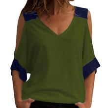 2019 New Yfashion Western Women's Cold Shoulder V Neck Short Sleeve T-Shirt plum crossed front design v neck cold shoulder half sleeves t shirt