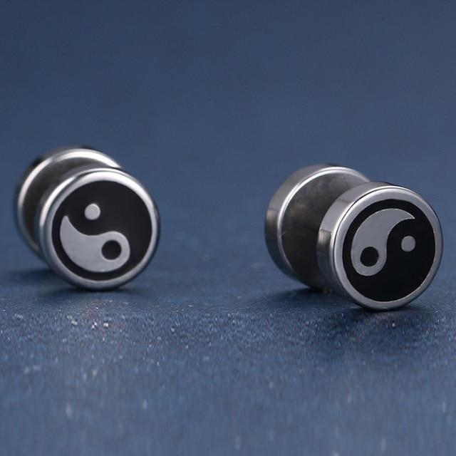 Ying & Yang Titanium Steel Stud Earrings