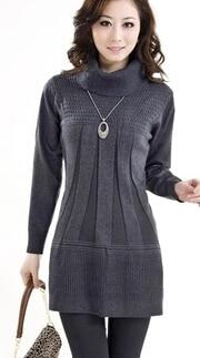 Printemps et automne femmes moyen-âge chandail tricoté chandail moyen-long basique chemise pull pull femme