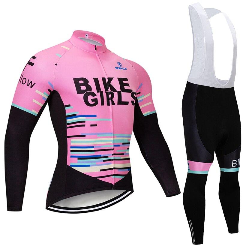 2019 TEAM BIKE GIRLS CYCLING JERSEY Bibs pants set Ropa Ciclismo women winter thermal fleece pro
