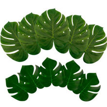 12 Pcs Green Artificial Tropical Palm Leaves Hawaiian Luau Party Table Decor
