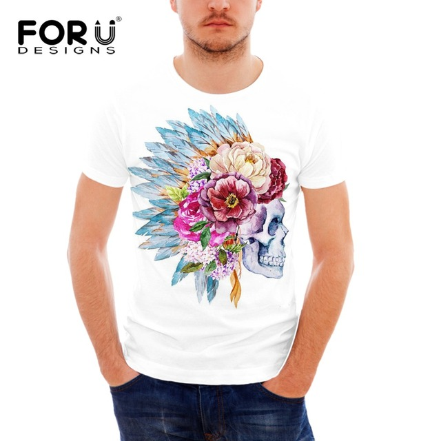 17a14c8d436 FORUDESIGNS Wholesale 3D Vintage Indian Designs Skulls For Men Cool Tee  Shirts Male Clothing Brand 3D Tops Tees Short Shirt XXL