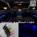 For FORD Fiesta 1995-2013 Car Interior Ambient Light Panel illumination For Car Inside Cool Strip Light Optic Fiber Band