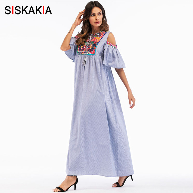 Siskakia ethnic Embroidery Maxi long Dress summer 2018 women cold shoulder hollow out ruffles Fashion casual dresses holiday New