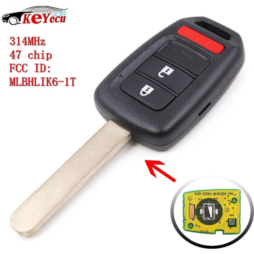 KEYECU Remote Car Key 2+1 Button 314MHz ID47 Chip for Honda Accord LX/Sport 2013   2016 Civic 2014   2015 FCC ID:MLBHLIK6 1T|Car Key| |  - title=