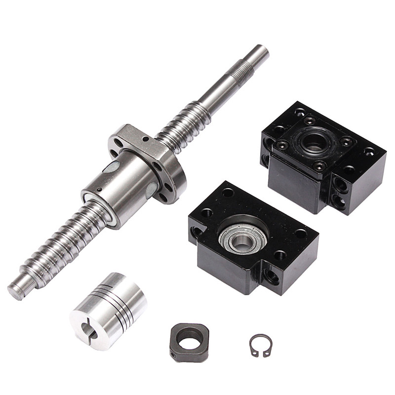 SFU1605 L200mm Rolled Ball Screw C7 Stainless steel + BK/BF12 Support + 2 Couplers 24x29mm + Locknuts
