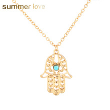 New Fashion Cheap Lucky Ladys Hamsa Hand Necklace Fatima Jewelry Pendant For Women Gold/Silver Vintage Bijoux Femme