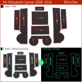 Anti-Slip Gate Slot Mat Rubber Cup Coaster for Mitsubishi Lancer 2008 - 2016 Ralliart EVO X Galant Fortis EX Accessories Sticker
