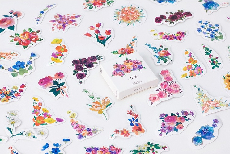 S11- Flower Cluster Diy Decorative Stationary Stickers(1pack=45pieces)