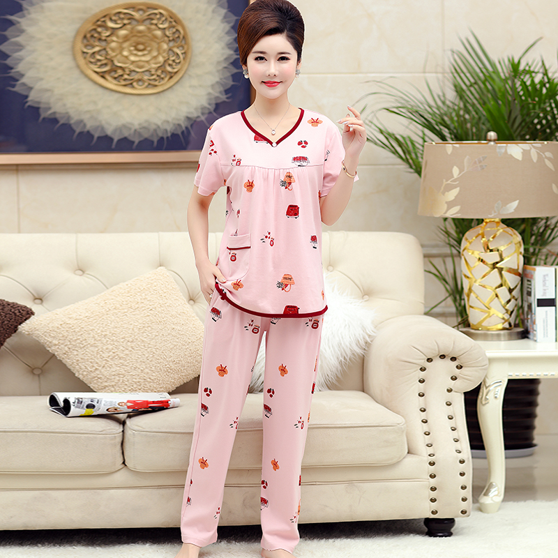 cotton pink color V collar pullover tops and long pants women print   pajama     sets   plus size 4XL sleepwear oversized pijamas mujer