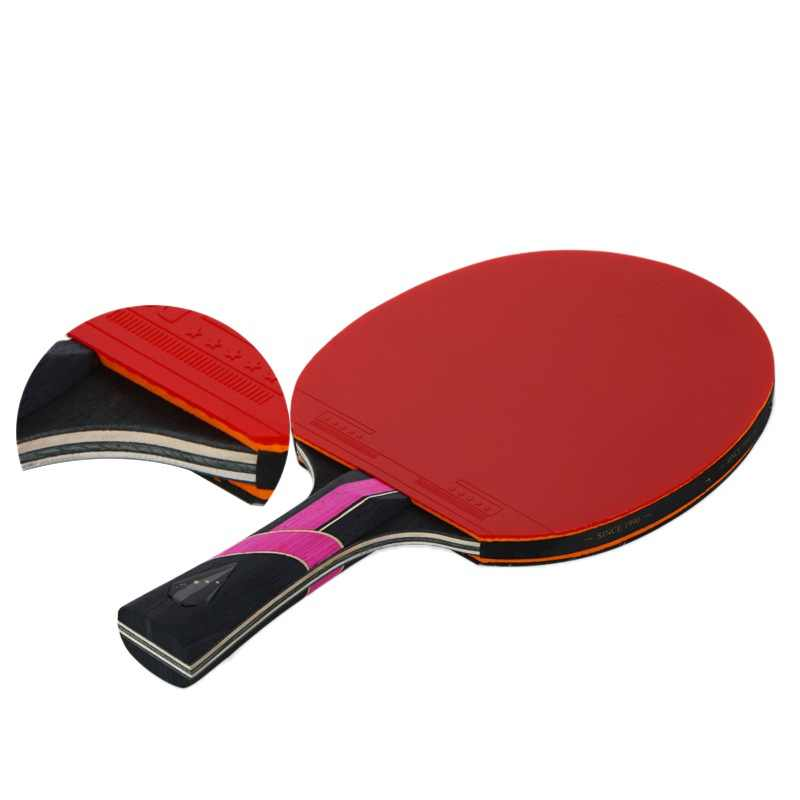 Professional Carbon Fiber Table Tennis Racket Blade - Horizontal shot / long handle one + square pack one + one box ball