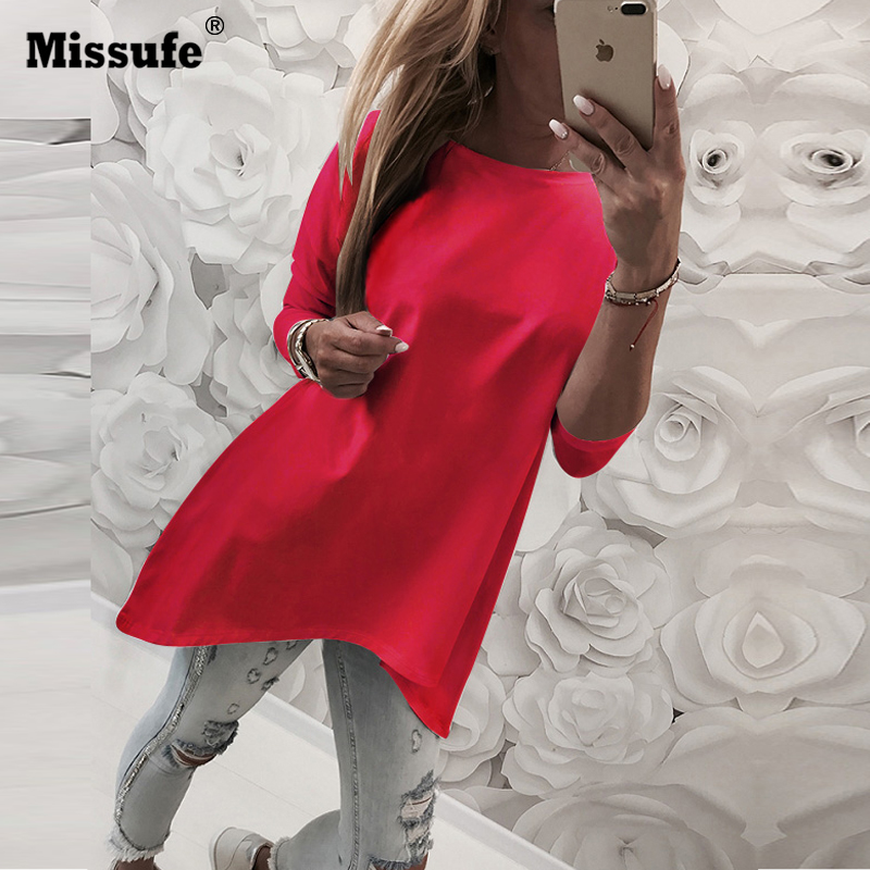 Missufe Irregular Hem Causal Loose Long Sleeve Autumn   Blouse     Shirts   2018 Blusa Sexy O Neck Solid Women   Blouse   Tops