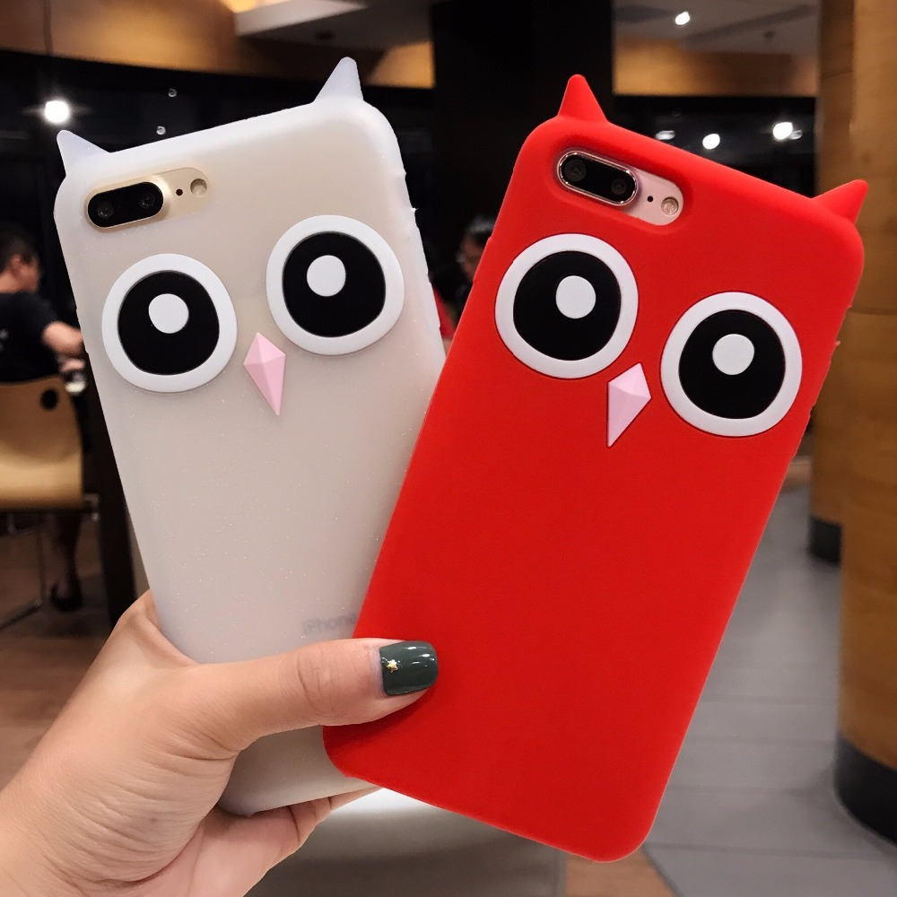 DOES Owl Pattern Cute Ear Silicone Phone Case For iPhone 7 6 6S Plus 3D Soft TPU Protective Cover For iPhone 6 6S 7 Plus Case
