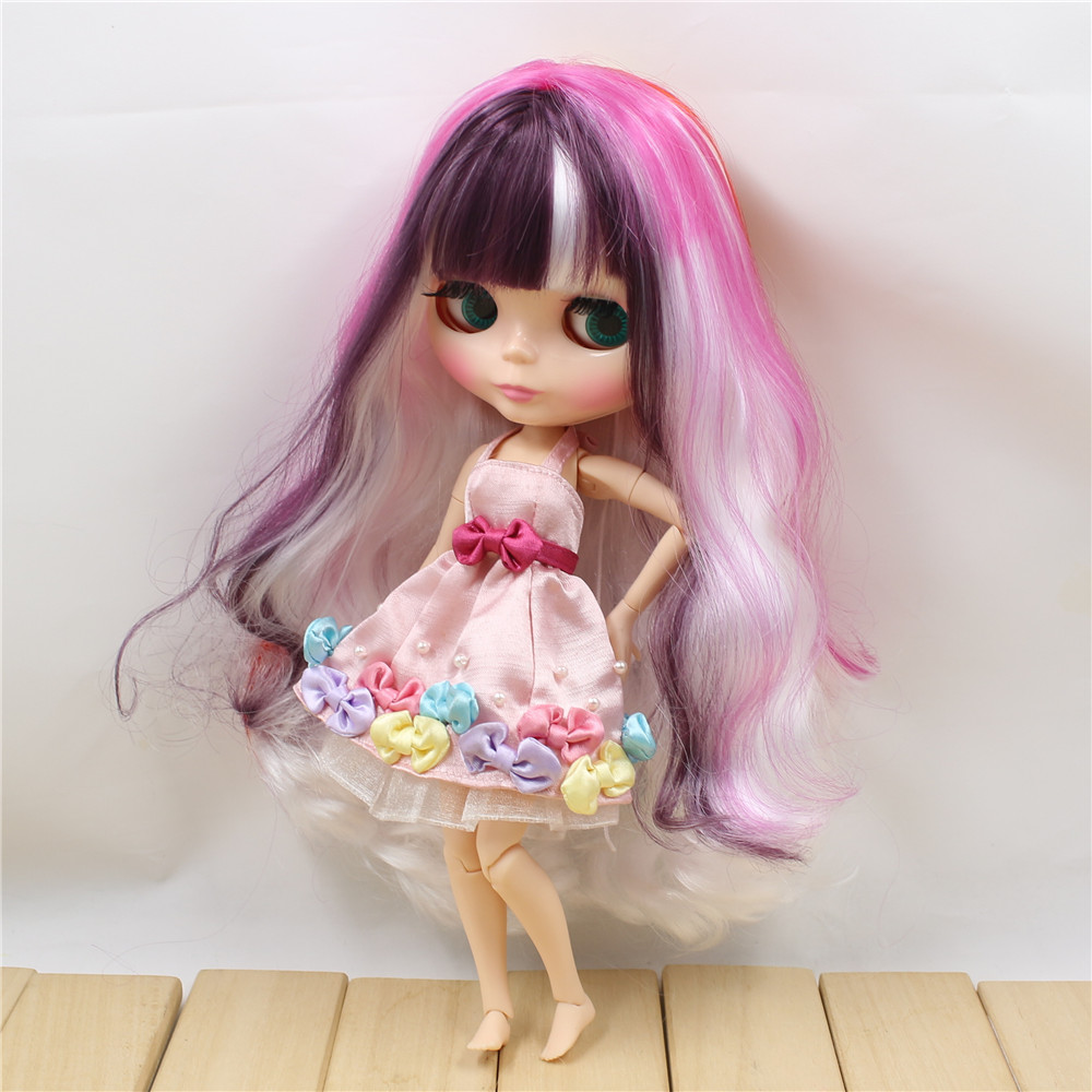 free shipping colorful wavy hair big breast joint body with fringes bangs neo bjd 1 6