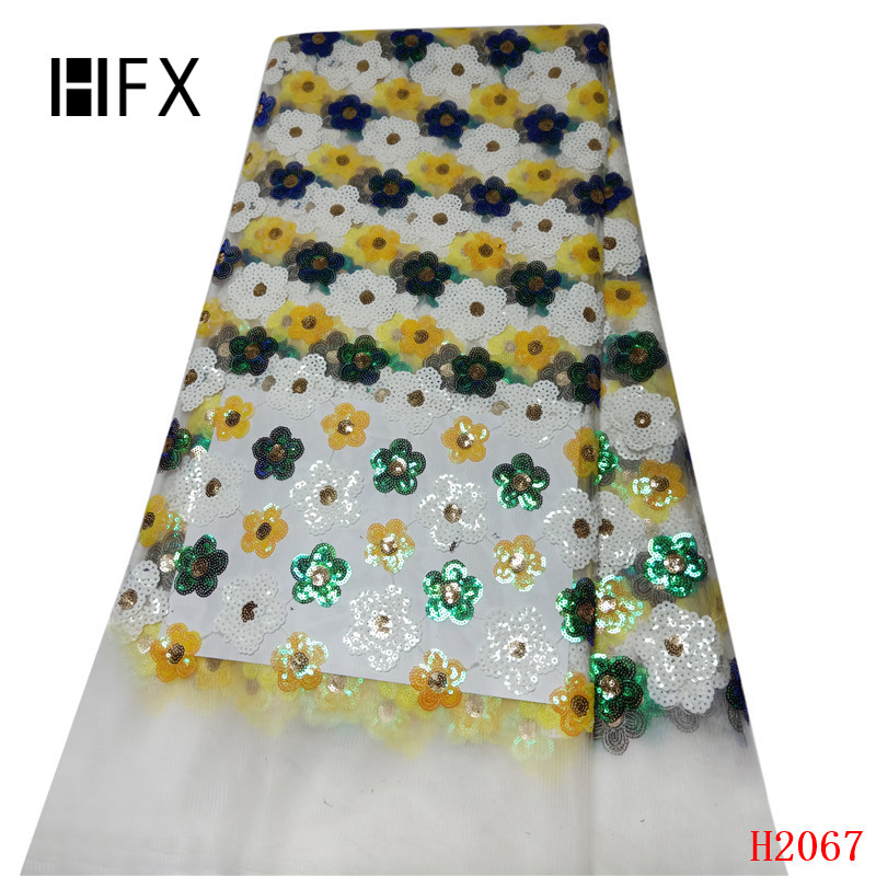 HFX Newest High Quality 2019 Tulle sequins French Nigerian Lace Fabrics Sequins Embroidered Guipure African 3d Fabric F2031