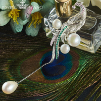 JEWELLWANG Unique Baroque Pearl Pendant Sterling Silver 925 Necklace for Women Baroque Pearl B rooch Pendant Silver Shiny Gifts