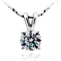 Free Shipping Fashion Classic 1carat Sona Simulated Diamond Necklace Wedding Bridal Pendant For Women 925 Silver
