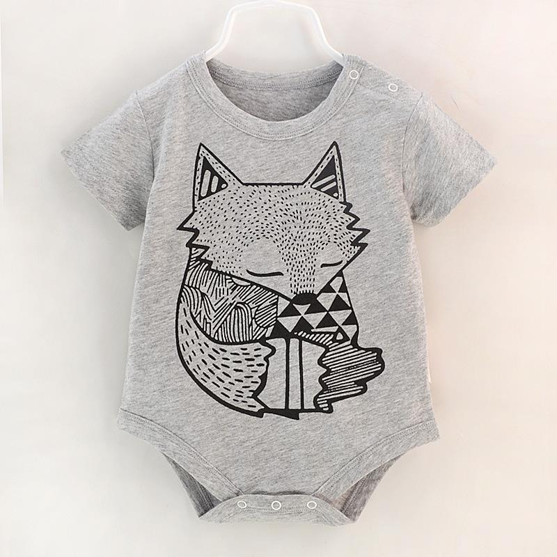 New Toddler Baby Boys Girls Newborn Infant Jumpsuit Bodysuit Outfits 0-9M Short Sleeve Fox Print Cotton Clothes Kid One-Pieces