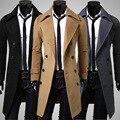 Hombres 2016 Fashion Double-Breasted larga Chaqueta de Lana Abrigos de Invierno Cálido Chaqueta de Alta Calidad de Negocios Alemán Gótico Ropa 3XL