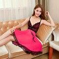 2017 Black Red Sexy Lace Tulle Underwear Nightwear Sleepwear Women's Nightgown Slim Casual Nightgowns Lingerie Charming Backless