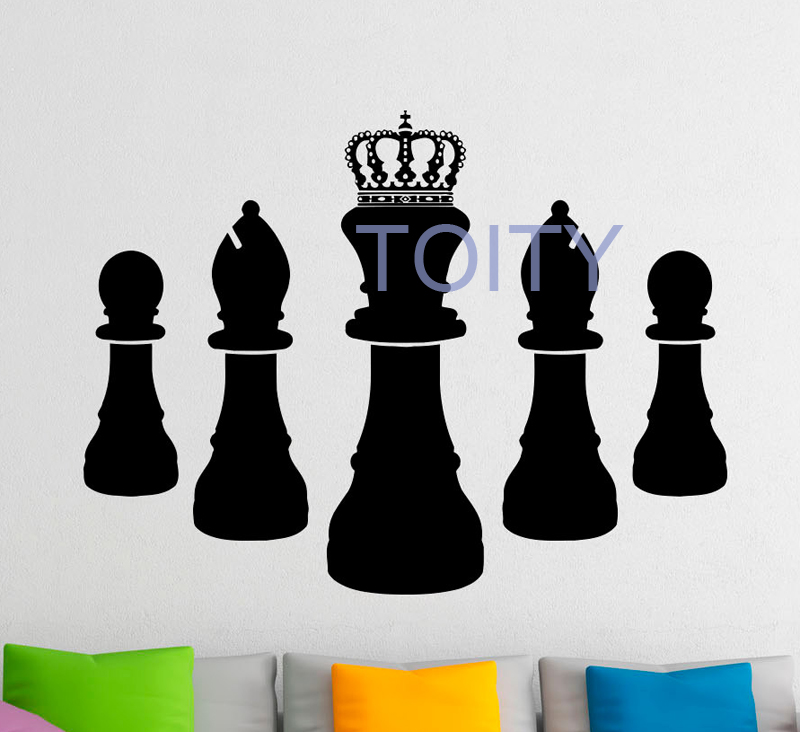 Chess Pieces Wall Sticker Strategy Board Game Vinyl Decal Dorm Teen Room Home Bedroom Decor Art Removable Mural H57cm x W76cm