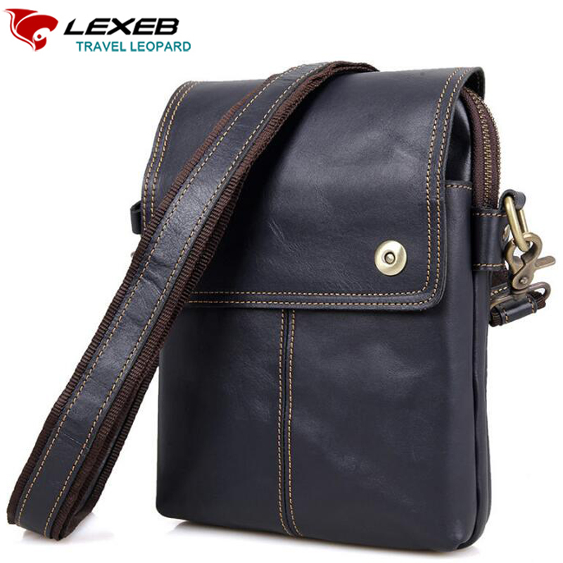 Lexeb Genuine Leather Men Shoulder Bag Craze Horse Messenger Bags Crossbody Mini Ipad High Quality Brown Cowhide Small Flaps xi yuan 2017 genuine leather bags men high quality messenger bags small travel dark brown crossbody shoulder bag for men gifts