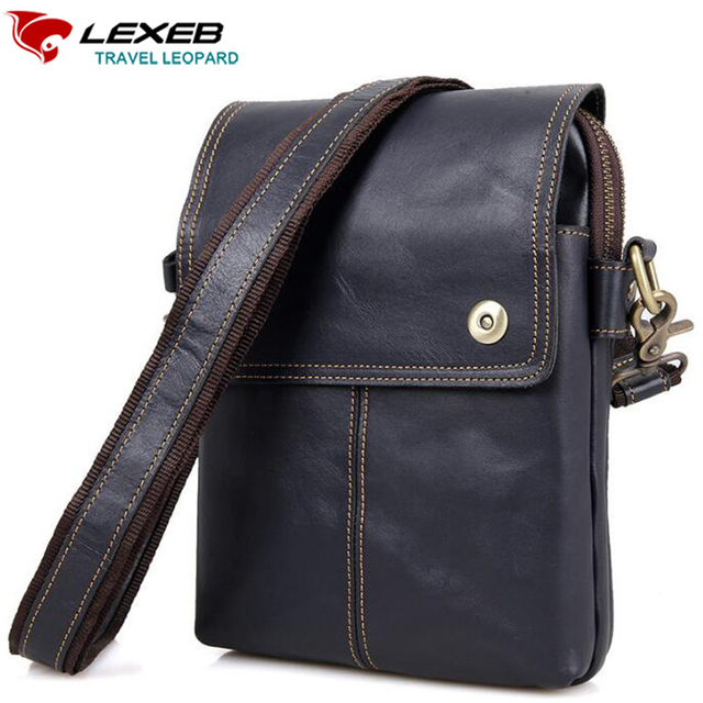 Lexeb Genuine Leather Men Shoulder Bag Craze Horse Messenger Bags Crossbody Mini  Ipad High Quality Brown Cowhide Small Flaps 778e25f05eafe