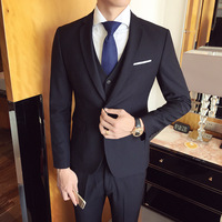Mens Suits 2019 New Fashion Suit Men's 3 piece Tuxedo Blazer Jacket+Vest+Pants Slim Professional Business Blazer Groom Wedding