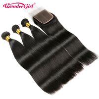 Human Hair Bundles With Closure 3 Bundles Straight Brazilian Hair Weave Bundles With Closure With Baby