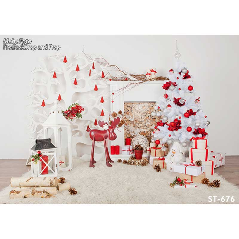 Horizontal Christmas red decoration tree vinyl cloth photography ...