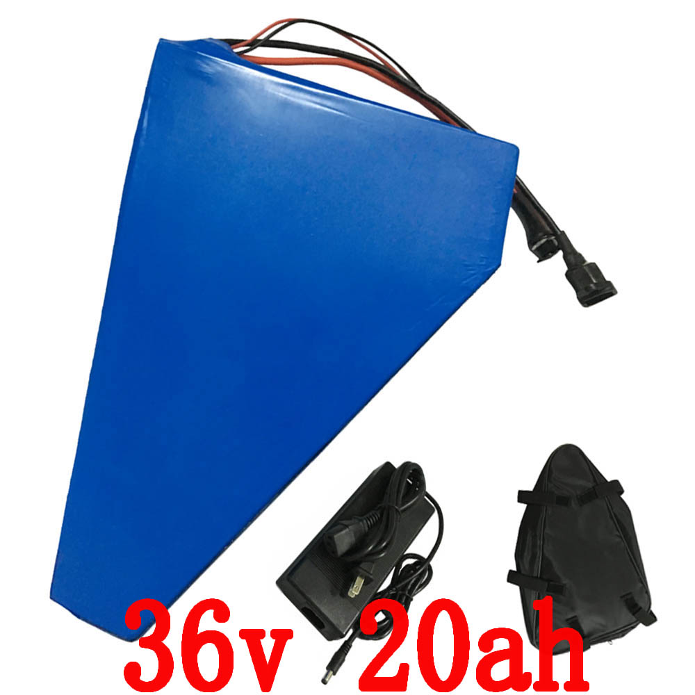 Free shipping 36V 20AH 1000W Triangle battery Electric Bike lithium ion battery pack with PVC case 30A BMS and 42V 2A charger high quality e bike triangle battery 36v 20ah li ion battery pack for 36v 1000w 500w 8fun bafang moto kit with charger bag bms