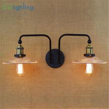 Винтажный стеклянный настенный светильник железный в стиле ретро
