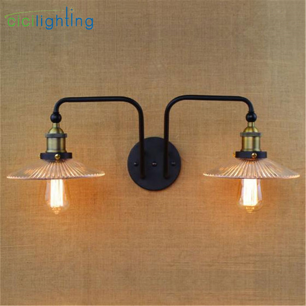 Vintage glass wall light iron Retro wall lamp E27 110V 120V 220V 240V 2 heads swing arm wall lamp adjustable lampade da tavolo ...