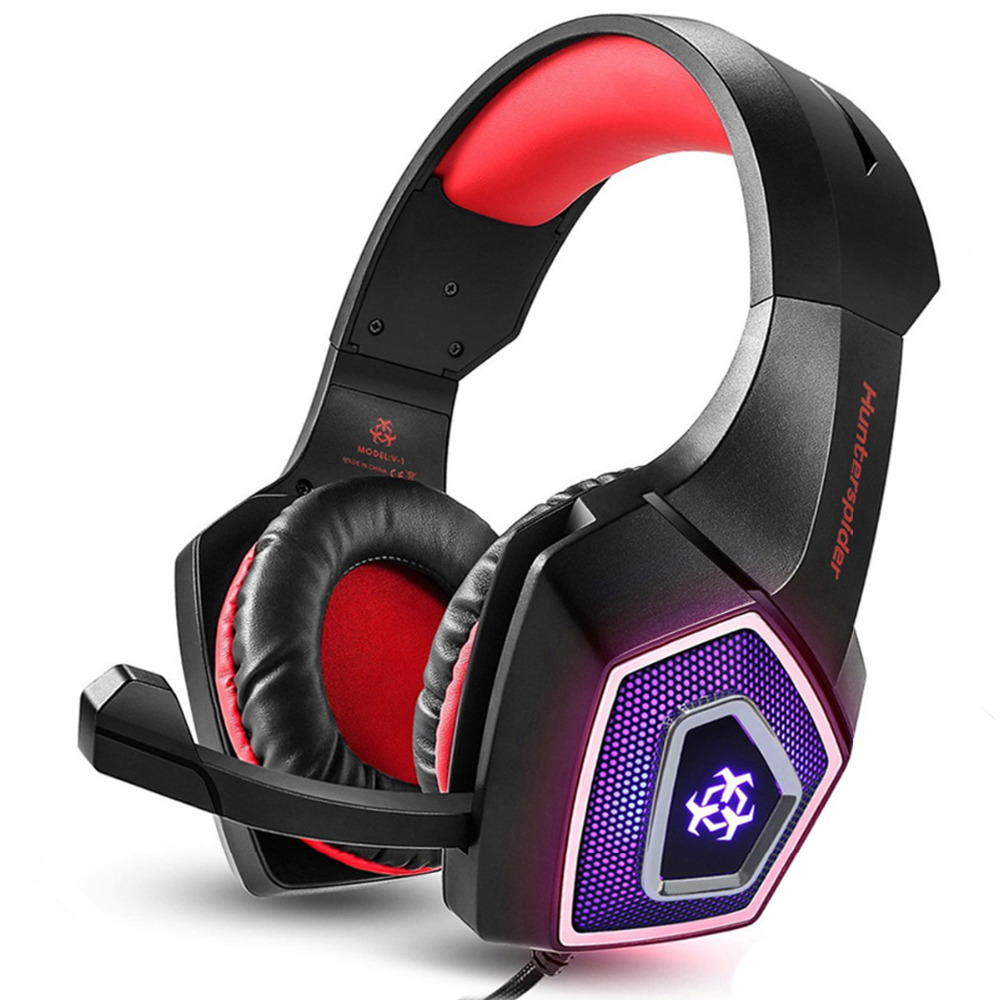 US $18 53 26% OFF|Hunterspider Stereo Gaming Headset Casque Over Ear  Surround Sound Headphones with Mic LED Light for Xbox One PS4 PC-in