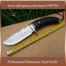 DT069 2016 new style camping knife damascus steel knife goat horn handle outdoor knives genuine leather sheath  hunting knife