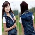 2015 Большой размер женщины без рукавов джинсовой куртке весна осень свободного покроя с капюшоном джинсовый жилет женская мода 5Xl жилет J178