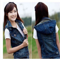 2015 Plus Size Women Sleeveless Denim Jacket Female Spring Autumn Casual Hooded Denim Vest  Female Fashion 5Xl Waistcoat J178